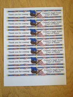 Water bottle labels for Eagle Scout Court of Honor
