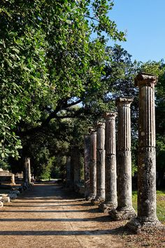 Remains of the Palestra at Olympia (Peloponnese).  The arena was the wrestling school in ancient Greece. There they practiced the events that did not need much space, as wrestling and   boxing. The arena worked independently or as part of the public gyms. The architecture of the arena, while allowing for slight   variations, followed a standard plan. It consisted of a rectangular building built around a patio with adjoining rooms