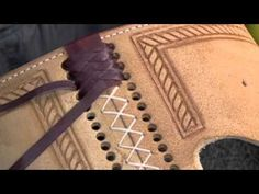 Decorative woven lacing technique.