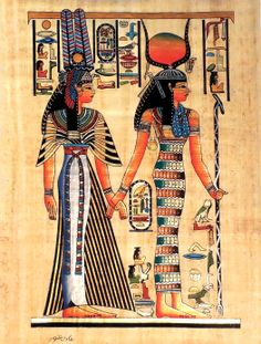 "Ancient Egyptian Art on Egyptian Papyrus. Unique Handmade Art For Sale at arkangallery.com | Title: ""Isis and Queen Nefertari"" 