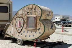 homemade heart trailer // burning man festival // california