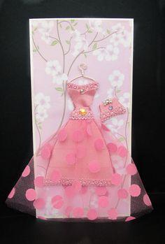 Cherry Personalized Dress Card / DL Size / Handmade by BSylvar, $19.00