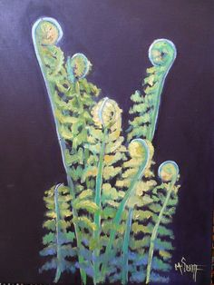 """Daily Paintworks - """"Daily Painting, Small Oil Painting, Fiddle Head Painting, Botanical print, Oil"""" - Original Fine Art for Sale - © Carol Schiff Daily Painters, Canvas Wall Decor, Selling Art, Botanical Prints, Dog Art, Beautiful Paintings, Ferns, Contemporary Artists, Giclee Print"""