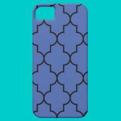Midnight Blue and Black Quatrefoil iPhone 5 Case