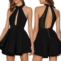 248902d0aa Black Entrapment Halter Cut Out Back Skater Dress