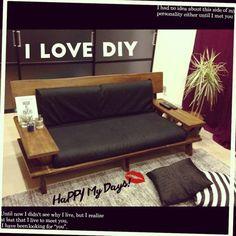 Home Decorative Furniture Diy Couch, Diy Furniture Couch, Diy Furniture Easy, Furniture Removal, Metal Furniture, Home Decor Furniture, Furniture Design, Simple Sofa, Wood Sofa
