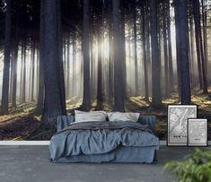 Sun rays through trees Wall Mural/Wallpaper Forest - bedroom ideas Dream Bedroom, Home Decor Bedroom, Master Bedroom, Bedroom Ideas, Tree Wallpaper, Photo Wallpaper, Forest Wallpaper, Kitty Wallpaper, Kawaii Wallpaper