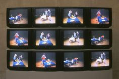 Bruce Nauman, Violent Incident (1986)  You see a couple having dinner, helping each other to the food, but they end up beating each other up.