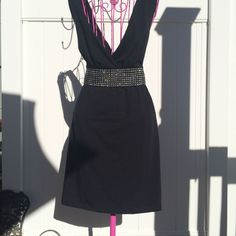 Sexy Black Rhinestone Casual Dress - Size 8 Tie Back #BananaMonkey #CasualHangaround #Casual