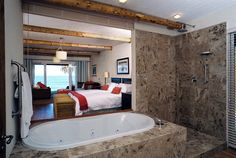 Enjoy the luxury of having your own African Beach House in the picturesque village of St. Francis Bay, make The Sands exclusively yours to enjoy with family and friends. Luxury Accommodation, St Francis, Sands, Corner Bathtub, Beach House, Relax, African, Home, Beach Homes