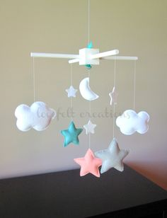 Baby Crib Mobile  Baby Mobile  Aqua Coral Mobile  by LoveFeltXoXo, $120.00
