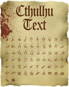 Cthulhu Text: TTF Font File - Cthulhu Text: TTF Font File Discovered in 1923 by Stapleton McTavish the famous explorer and collector of ancie Alphabet Code, Alphabet Symbols, Cursive Alphabet, Ancient Alphabets, Ancient Symbols, Occult Symbols, Magic Symbols, Viking Symbols, Egyptian Symbols
