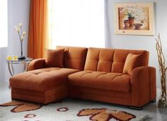 Kubo Sectional Sofa Bed in Rainbow Orange Fabric by Sunset [IKSS-Kubo Rainbow Orange]