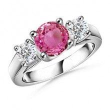 Angara Three Stone Round Pink Sapphire Ring with Diamond Accents mEzwdJSD