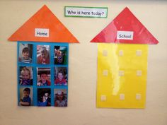 'Who is here today' display .. Gives the children a sense of identity & belonging.