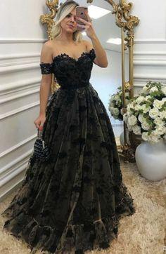 A-Line Off-the-Shoulder Sweep Train Black Lace Prom Dress #prom #promdress #dress #eveningdress #evening #fashion #love #shopping #art #dress #women #mermaid #SEXY #SexyGirl #PromDresses