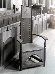Edgar Wood also designed furniture.  Here is one of his Minister's Chairs at Long Street Methodist Church, now the Edgar Wood Centre.