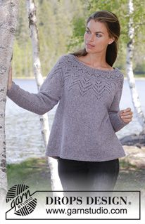 Agnes Sweater / DROPS - Knitted jumper with round yoke in DROPS Sky. The piece is worked top down with lace pattern. Sizes S - XXXL. gestrickte pullover Agnes Sweater / DROPS - Free knitting patterns by DROPS Design Beanie Knitting Patterns Free, Beanie Pattern Free, Cardigan Pattern, Crochet Cardigan, Free Knitting, Crochet Patterns, Free Pattern, Drops Design, Crochet Clothes
