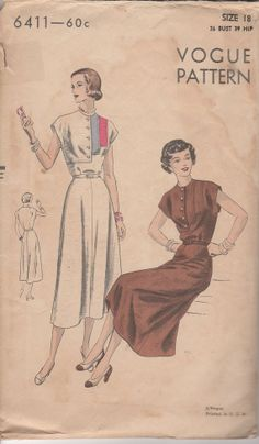 1940s Misses' Dress Vogue 6411 Size 18 Bust 36 Hip 39