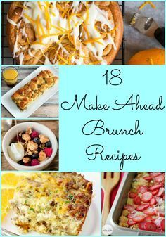 18 Make Ahead Brunch Recipes- Use for breakfast, lunch or dinner. Love, Pasta and a Tool Belt. Breakfast Dishes, Breakfast Time, Breakfast Recipes, Wife Saver Breakfast, Brunch Dishes, Menu Brunch, Brunch Foods, Bridal Shower Brunch Menu, Easter Brunch Menu