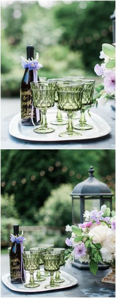 Green glass goblets, silver tray, personalized wine bottle, cocktail hour display // B. Jones Photography
