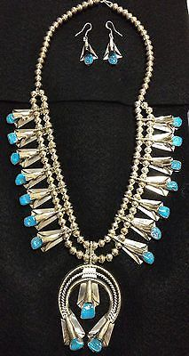 NATIVE-AMERICAN-NAVAJO-SQUASH-BLOSSOM-TURQUOISE-NECKLACE-amp-EARRINGS-YAZZIE