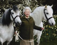 The Queen, a lifelong equestrian, with two of her favorite ponies