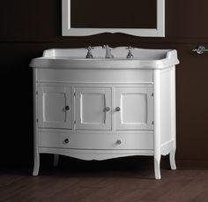 KSM0011 Landelijke badkamermeubel, wastafelonderkast  incl. wastafel, wit