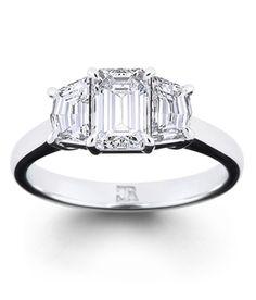 Charles Rose , rare 3 diamond ring, featuring twin trapeze cut diamonds plus a center emerald cut diamond - heaven Wedding Engagement, Wedding Rings, Engagement Rings, Diamond Rings, Diamond Cuts, Emerald Cut Diamonds, Objects, Bling