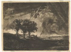 The Three Trees, after Rembrandt 1758 Medium: Etching, drypoint and roulette; fourth state of six Dimensions: plate: 8 1/4 x 11 in. (21 x 28 cm) sheet: 8 11/16 x 11 3/8 in. (22 x 28.9 cm)