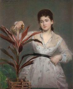 ~ Eva Gonzalès ~ French artist, 1849-1883: La Plante favorite circa 1870