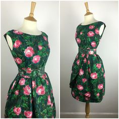 1950s Tulip Dress - 50s Rose Floral Dress - Cotton Summer Dress - 50s Party Celebration dress - Small - UK 8-10 / US 4-6 / EU 36-38 - by Marneys on Etsy