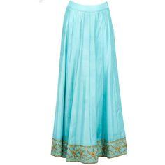 Pastel Green Zari Embroidered Kurta With Lehenga Skirt ($695) ❤ liked on Polyvore featuring skirts