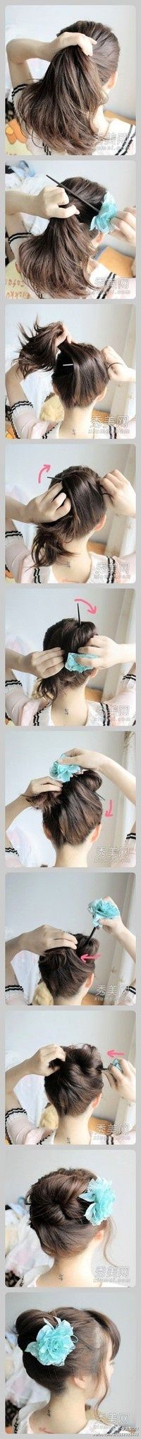 easy hair updo - must try this sometime!