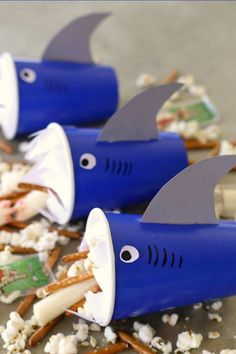 30 Best Foods to Make for Your Kid's Birthday Party - Sabrina S. - 30 Best Foods to Make for Your Kid's Birthday Party DIY Snack Attack Shark Cups. 30 Best Foods to Make for Your Kid's Birthday Party - Kids Cooking Party, Cooking With Kids, Birthday Party Themes, Boy Birthday, Birthday Party Food For Kids, Birthday Recipes, Diy Snacks, Party Snacks, Party Party