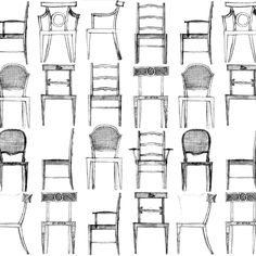 Erik Gunnar Asplund, which is his full name, is considered as one of the leading architects in 20th century Scandinavia. As an architect, Asplund found it only natural to also design furniture and fixtures for his buildings. At the Swedish Centre for Architecture and Design, we found these fantastic pencil sketches of chairs, and immediately visualized a new wallpaper that would feature Gunnar's chairs, humorous and beautiful at the same time. The original is based on two different sketches…