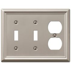 Amerelle Chelsea 149TTDBN 2 Toggle 1 Duplex Wall Plate - Brushed Nickel – Wall Switch Plates – Residential Lighting - GreyDock.com