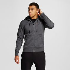 Men's Fleece Full Zip Hoodies Dark Gray 2XL - C9 Champion, Size: Xxl, Charcoal Heather