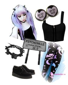 """""""Pastel goth"""" by abananas ❤ liked on Polyvore featuring Underground, Dirty Pretty Things, women's clothing, women's fashion, women, female, woman, misses and juniors"""