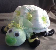 Turtle Baby Shower Theme Ideas | DIAPER TURTLE Green Baby Shower Decorations Neutral Diaper Cake Gift