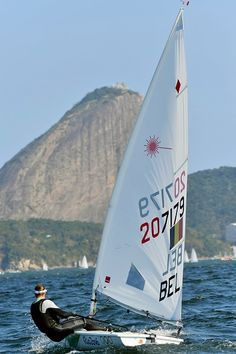 #RIO2016 Van Acker Evi of Belgium in action during the Sailing training session of the Laser Radial Women with the Sugarloaf Mountain in the back at the...