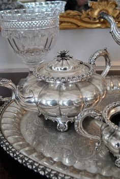 Vintage silver tea set and tray. http://shop.artisansilvergifts.com/collections/for-her