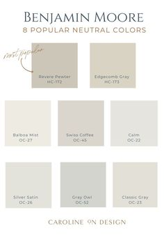 Are you on the hunt for the perfect neutral paint color for your home? Here are 8 popular Benjamin Moore neutral colors that will make your home beautiful! Greige Paint Colors, Neutral Paint Colors, Exterior Paint Colors, Paint Colors For Home, Accessible Beige Sherwin Williams, Balboa Mist, Best Interior Paint, Touch Of Gray, Design Your Dream House