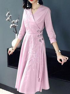 Embroidered tie-waist 3/4 sleeves A-line dress - pink #casualpartydresses Dress Neck Designs, Kurti Neck Designs, Kurta Designs Women, Kurti Designs Party Wear, Blouse Designs, Casual Party Dresses, Cute Dresses, Pink Dresses, Wrap Dresses