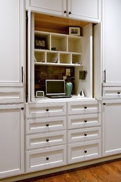 hidden desk in built ins Kitchen with Bold Sophistication - eclectic - kitchen - atlanta - Designs by BSB Hidden Desk, Hidden Kitchen, Built In Desk, Kitchen And Bath, New Kitchen, Built Ins, Kitchen Reno, Hidden Doors, Kitchen Desk Areas