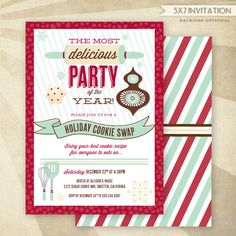 Holiday Cookie Exchange Christmas Party - CUSTOM PRINTABLE Invitation