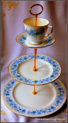 """Stunning Colclough """"Braganza"""" handmade thee-tier cake stand with sky-blue floral pattern using first grade quality English bone china c.1960"""
