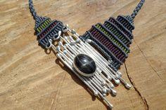 black star necklace,macrame necklace,silver necklace,macrame silver necklace,macrame stone necklace,black star jewelry,diopside,boho chic by ARTEAMANOetsy on Etsy