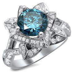 2.0ct Blue Round Diamond Lotus Flower Engagement Ring 14k White Gold