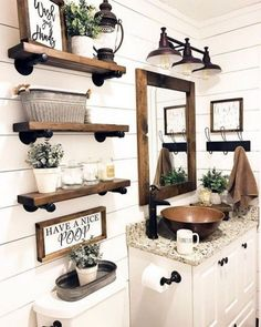 A rustic bathroom can be the ultimate culmination of classic and modern decor. While interior design trends come and go, rustic bathroom ideas remain timeless and comfortable. Rustic Bathroom Designs, Rustic Bathroom Decor, Rustic Bathrooms, Bathroom Styling, Bathroom Ideas, Bathroom Organization, Bathroom Storage, Small Bathrooms, Master Bathrooms